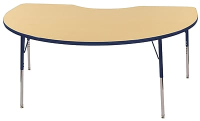 ECR4Kids T-Mold Kidney Table Maple/Navy -Standard Swivel Glide (ELR-14104-MNV-SS)