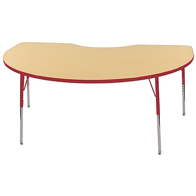 ECR4Kids T-Mold Kidney Table Maple/Red -Standard Swivel Glide (ELR-14104-MRD-SS)