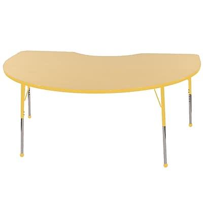 ECR4Kids T-Mold Kidney Table Maple/Yellow-Toddler Ball Glide (ELR-14104-MYE-TB)