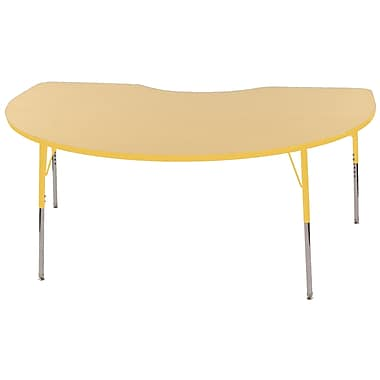 ECR4Kids T-Mold Kidney Table Maple/Yellow-Standard Swivel Glide (ELR-14104-MYE-SS)