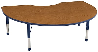 ECR4Kids T-Mold Kidney Table Oak/Navy-Chunky Legs (ELR-14104-OKNV-C)