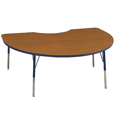 ECR4Kids T-Mold Kidney Table Oak/Navy-Standard Swivel Glide (ELR-14104-OKNV-SS)