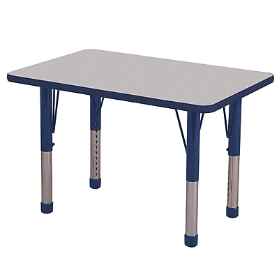 ECR4Kids T-Mold 24in. x 36in. Rectangle Table Grey/Navy-Chunky Legs (ELR-14106-GNV-C)