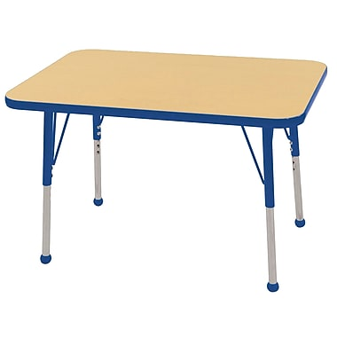 ECR4Kids T-Mold 24in. x 36in. Rectangle Table Maple/Blue -Standard Ball Glide (ELR-14106-MBL-SB)
