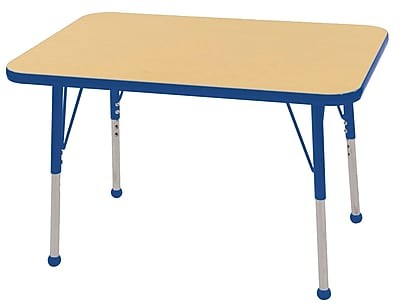 ECR4Kids T-Mold 24in. x 36in. Rectangle Table Maple/Blue -Toddler Ball Glide (ELR-14106-MBL-TB)