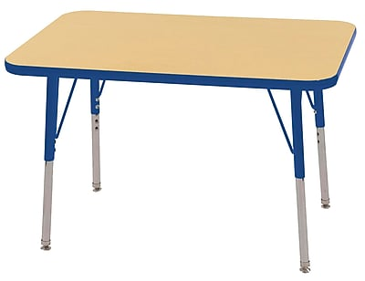 ECR4Kids T-Mold 24in. x 36in. Rectangle Table Maple/Blue -Toddler Swivel Glide (ELR-14106-MBL-TS)