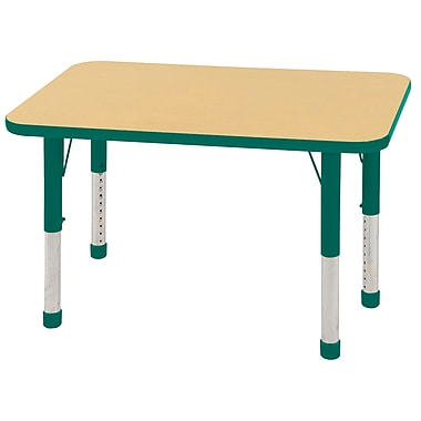 ECR4Kids T-Mold 24in. x 36in. Rectangle Table Maple/Green-Chunky Legs (ELR-14106-MGN-C)