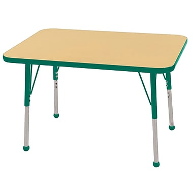 ECR4Kids T-Mold 24in. x 36in. Rectangle Table Maple/Green-Standard Ball Glide (ELR-14106-MGN-SB)