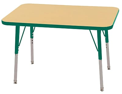 ECR4Kids T-Mold 24in. x 36in. Rectangle Table Maple/Green-Toddler Swivel Glide (ELR-14106-MGN-TS)