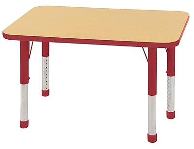 ECR4Kids T-Mold 24in. x 36in. Rectangle Table Maple/Red -Chunky Legs (ELR-14106-MRD-C)