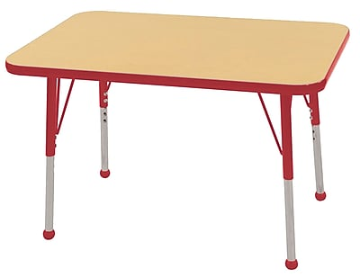 ECR4Kids T-Mold 24in. x 36in. Rectangle Table Maple/Red -Standard Ball Glide (ELR-14106-MRD-SB)