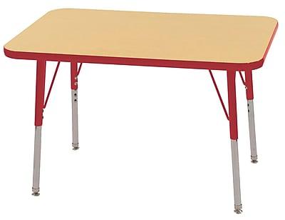 ECR4Kids T-Mold 24in. x 36in. Rectangle Table Maple/Red -Standard Swivel Glide (ELR-14106-MRD-SS)