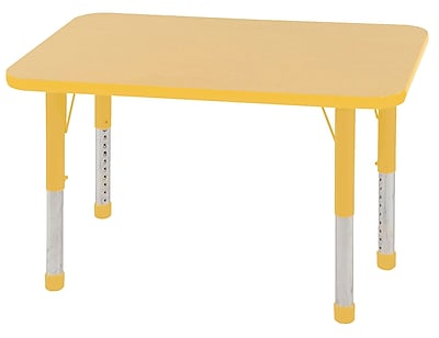 ECR4Kids T-Mold 24in. x 36in. Rectangle Table Maple/Yellow-Chunky Legs (ELR-14106-MYE-C)