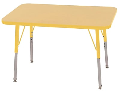 ECR4Kids T-Mold 24in. x 36in. Rectangle Table Maple/Yellow-Toddler Swivel Glide (ELR-14106-MYE-TS)