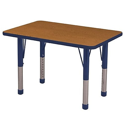 ECR4Kids T-Mold 24in. x 36in. Rectangle Table Oak/Navy-Chunky Legs (ELR-14106-OKNV-C)