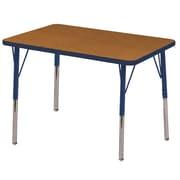 ECR4kids Standard Swivel Glide 36'' Rectangular Table, Oak/Navy (ELR14106OKNVSS)