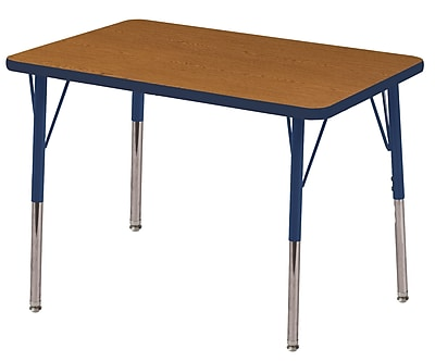 ECR4Kids T-Mold 24in. x 36in. Rectangle Table Oak/Navy-Standard Swivel Glide (ELR-14106-OKNV-SS)