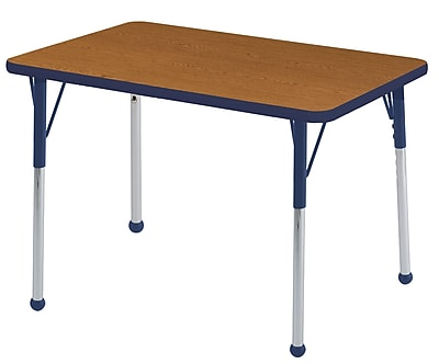 ECR4Kids T-Mold 24in. x 36in. Rectangle Table Oak/Navy-Toddler Ball Glide (ELR-14106-OKNV-TB)