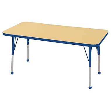 "24""x48"" Rectangular T-Mold Activity Table, Maple/Blue/Standard Ball"