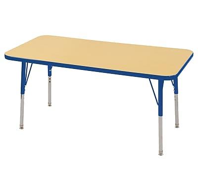 "24""x48"" Rectangular T-Mold Activity Table, Maple/Blue/Standard Swivel"