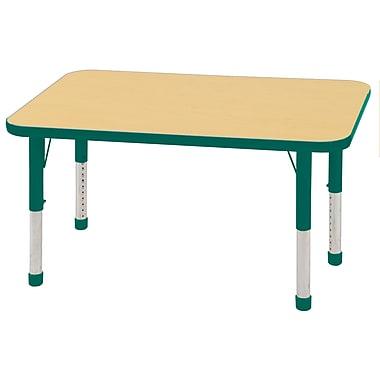 "24""x48"" Rectangular T-Mold Activity Table, Maple/Green/Chunky"