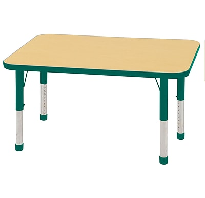 "24""x48"" Rectangular T-Mold Activity Table, Maple/Green/Chunky"