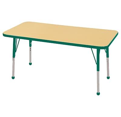 "24""x48"" Rectangular T-Mold Activity Table, Maple/Green/Toddler Ball"