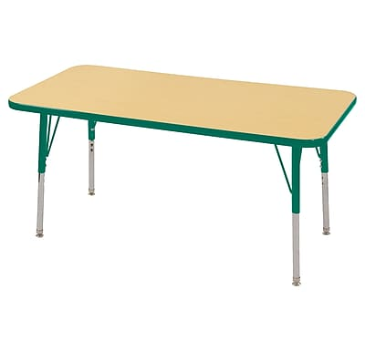 "24""x48"" Rectangular T-Mold Activity Table, Maple/Green/Toddler Swivel"