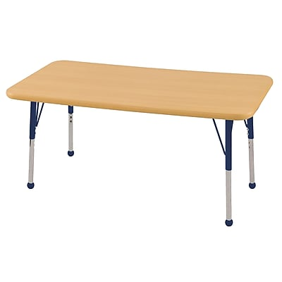 "24""x48"" Rectangular T-Mold Activity Table, Maple/Maple/Navy/Standard Ball"