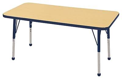 "24""x48"" Rectangular T-Mold Activity Table, Maple/Navy/Toddler Ball"