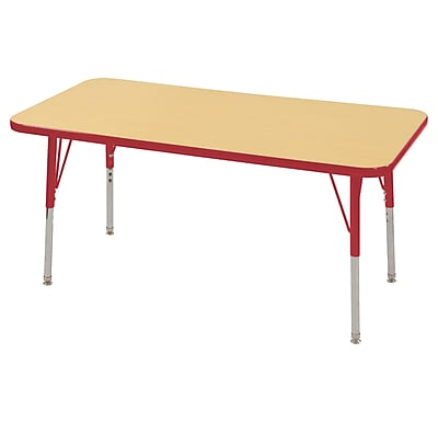 "24""x48"" Rectangular T-Mold Activity Table, Maple/Red/Standard Swivel"
