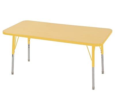 "24""x48"" Rectangular T-Mold Activity Table, Maple/Yellow/Toddler Swivel"