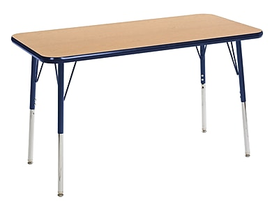 "24""x48"" Rectangular T-Mold Activity Table, Oak/Navy/Standard Swivel"