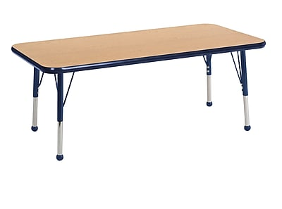"24""x48"" Rectangular T-Mold Activity Table, Oak/Navy/Toddler Ball"