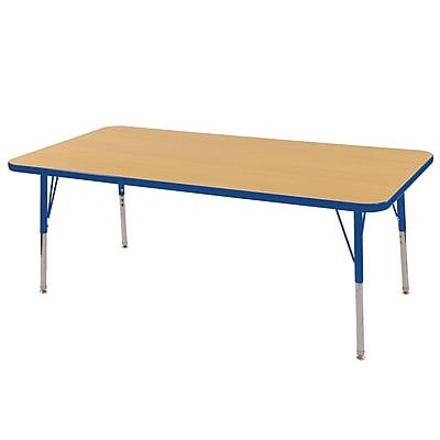 "24""x60"" Rectangular T-Mold Activity Table, Maple/Blue/Toddler Swivel"