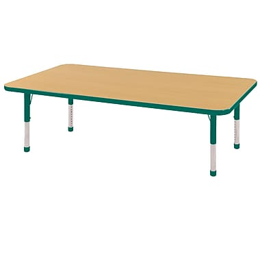 "24""x60"" Rectangular T-Mold Activity Table, Maple/Green/Chunky"