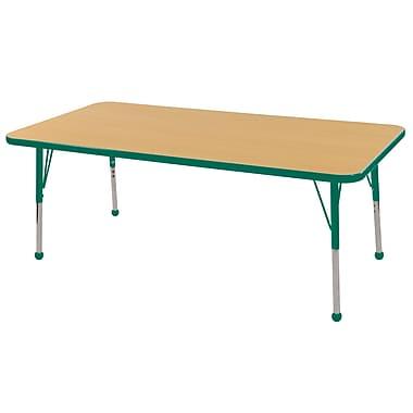 "24""x60"" Rectangular T-Mold Activity Table, Maple/Green/Toddler Ball"