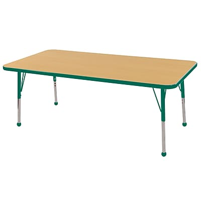 "24""x60"" Rectangular T-Mold Activity Table, Maple/Green/Toddler Ball"