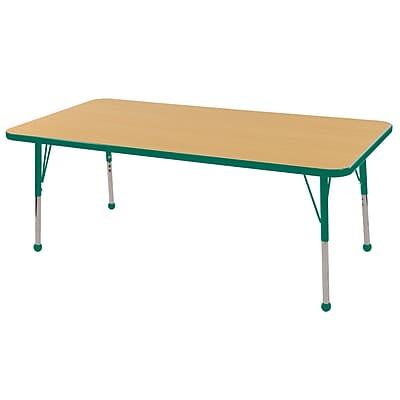 "24""x60"" Rectangular T-Mold Activity Table, Maple/Green/Standard Ball"