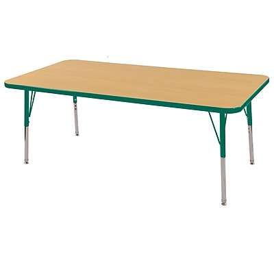 "24""x60"" Rectangular T-Mold Activity Table, Maple/Green/Standard Swivel"