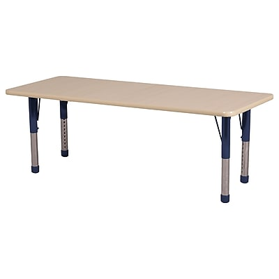 "24""x60"" Rectangular T-Mold Activity Table, Maple/Maple/Navy/Chunky"