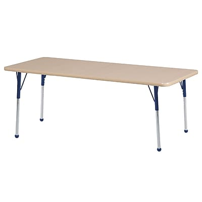 "24""x60"" Rectangular T-Mold Activity Table, Maple/Maple/Navy/Toddler Ball"