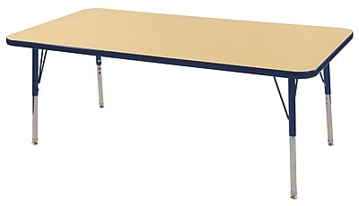 "24""x60"" Rectangular T-Mold Activity Table, Maple/Navy/Toddler Swivel"
