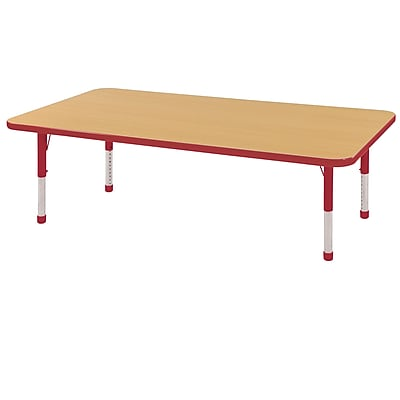 """24""""x60"""" Rectangular T-Mold Activity Table, Maple/Red/Chunky"""