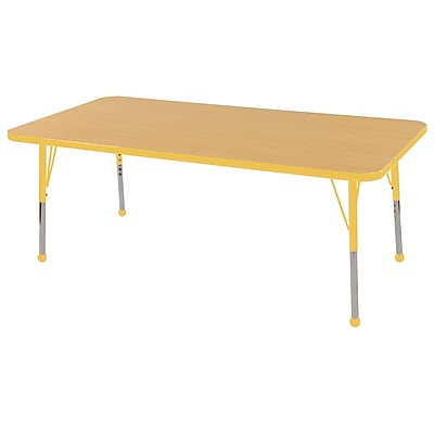 "24""x60"" Rectangular T-Mold Activity Table, Maple/Yellow/Standard Ball"