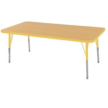 "24""x60"" Rectangular T-Mold Activity Table, Maple/Yellow/Standard Swivel"