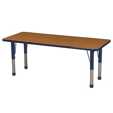 "24""x60"" Rectangular T-Mold Activity Table, Oak/Navy/Chunky"