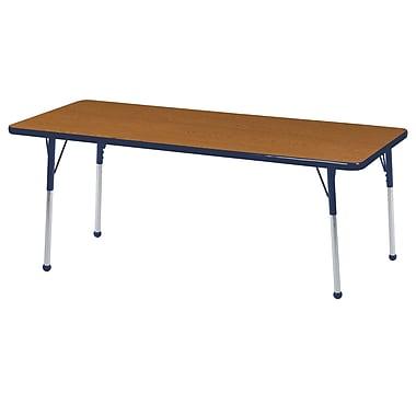 "24""x60"" Rectangular T-Mold Activity Table, Oak/Navy/Standard Ball"
