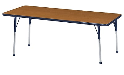 "24""x60"" Rectangular T-Mold Activity Table, Oak/Navy/Toddler Ball"