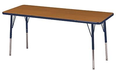"24""x60"" Rectangular T-Mold Activity Table, Oak/Navy/Toddler Swivel"